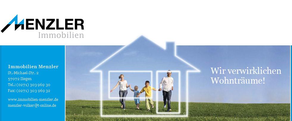 Menzler Immobilien vermittelt Immobilien, Grundstücke und Wohnungen. Seit mehr als 15 Jahren sind wir im Großraum Siegen, Kreuztal und Bergisch Gladbach für Sie da!