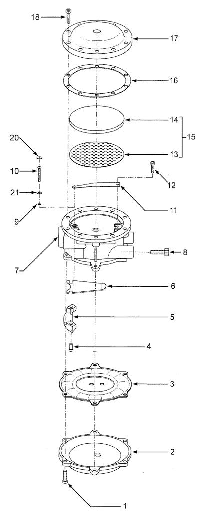 Reparatursatz Absperrventil RK-VFF-D mit Fluorsilicon-Membrane.