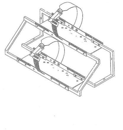 Doppelflaschenhalter 45° übereinander  diagonal 820x414x585mm