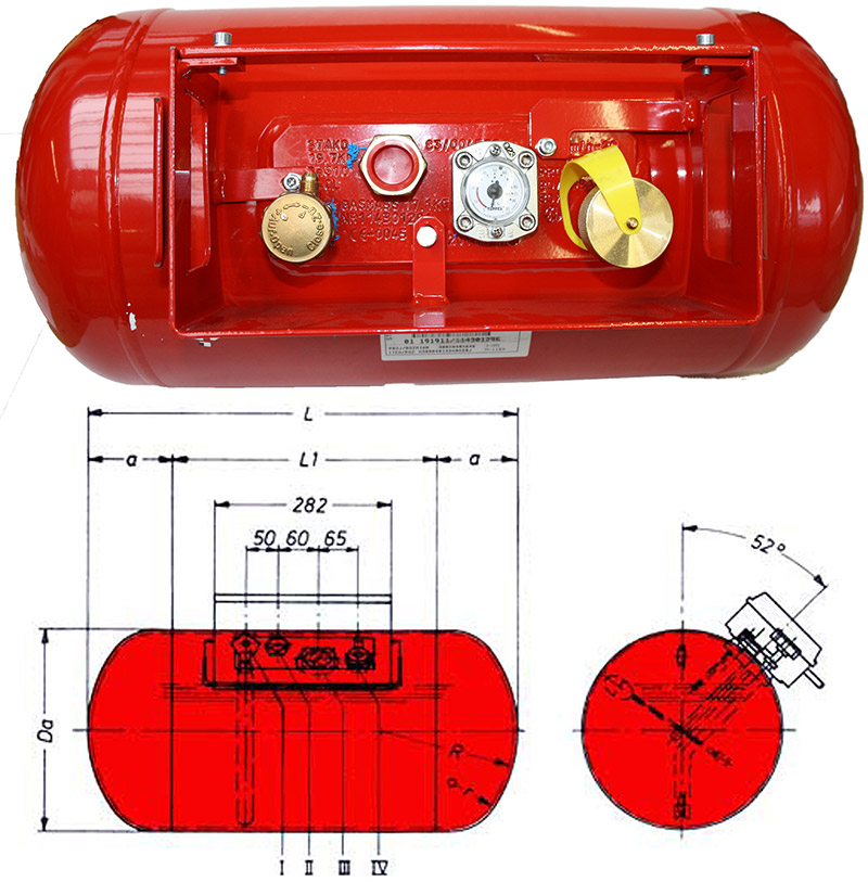 Treibgastank FLT TB100 360 x 1099 / 52° geprüft nach ECE-R67