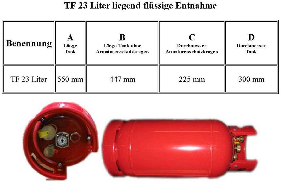 Treibgastank WVM RY-23 Liter liegende flüssige Entnahme