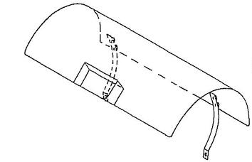 Schutzdach für Flaschenhalter mit Scharniere und Befestigungsgurt