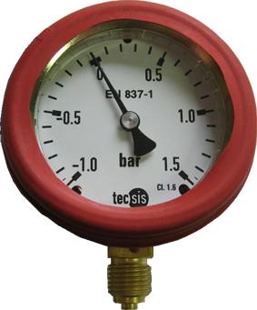 Manometer: Meßbereich -1bar bis 1,5bar mit roter Schutzkappe