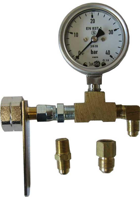 Prüf-Manometer mit Glycerin:  Meßbereich 0 bis 40 bar mit Wechselflaschenanschluß und Anbindung an HD-Schlauch 1/2