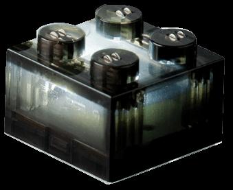 25 x STAX® 2x2 Schwarz transparent  - LEGO®-kompatibel