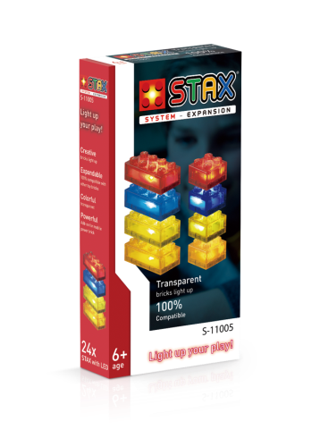 STAX® Expansion Pack - Transparent - red, yellow, blue & orange  - LEGO®-kompatibel