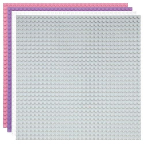 Strictly BRIKS LBPM324A4 Bauplatte 32x32 Vier-Pack Weiss-Hellgrau-Hellrosa-Lavendel