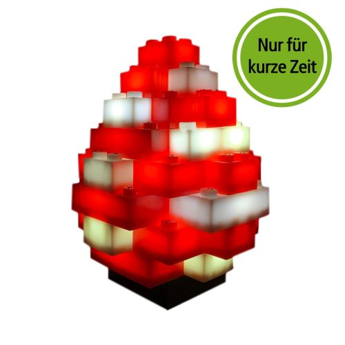 STAX® Osterei rot/weiß matt - LEGO®-kompatibel