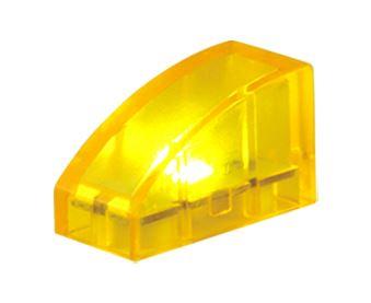 25 x STAX ® gebogen 1x2 Gelb transparent  - LEGO®-kompatibel