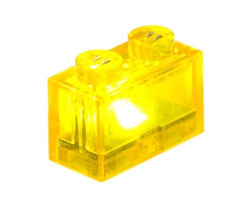 25 x STAX® 1x2 gelb transparent - LEGO®-kompatibel