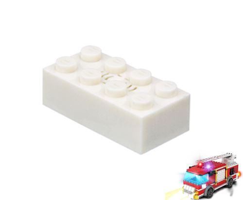 STAX ® Sound STAX 2x4 weiß Feuerwehrwagen- LEGO®-kompatibel