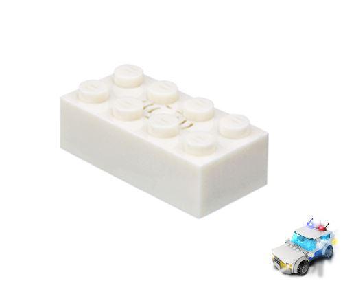 STAX ® Sound STAX 2x4 weiß Polizei- LEGO®-kompatibel