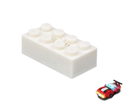 STAX ® Sound STAX 2x4  weiß Rennwagen - LEGO®-kompatibel
